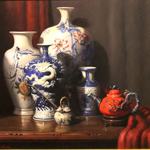 Oriental Red, White and Blue