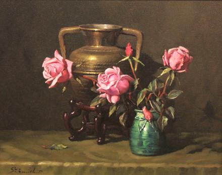 Pink on Brass and Rosebud Vase