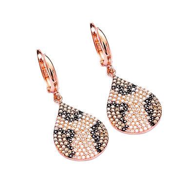 Boucles d'oreilles luxueuses avec zircon en argent