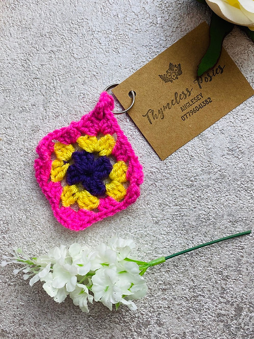 Crocheted Granny Square Key rings