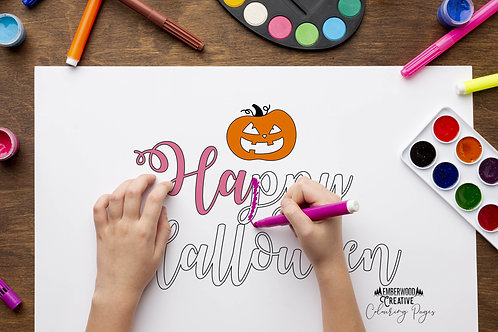 Halloween Colouring Pages English and Welsh