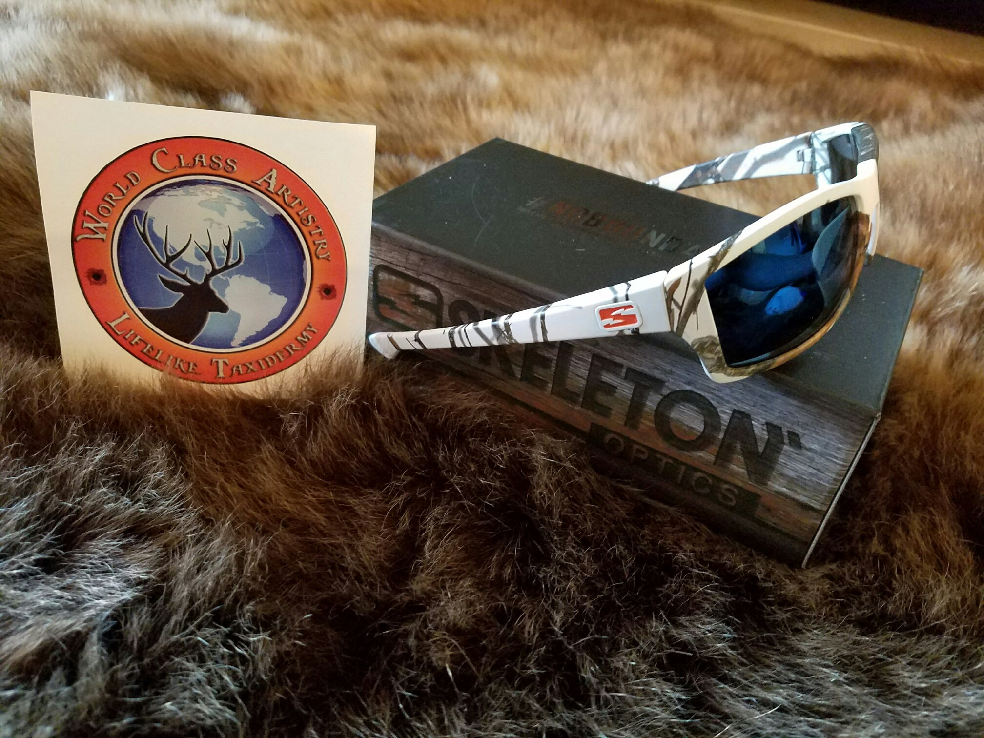 94348cdd79e Skeleton Optics Sunglasses  Scout Model Mossy Oak White Blue Zeiss Lenses