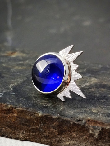 Mini Star Brooch with Blue Zirconia