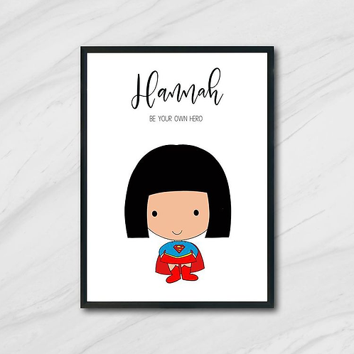 Custom Superhero A4 Print with Frame