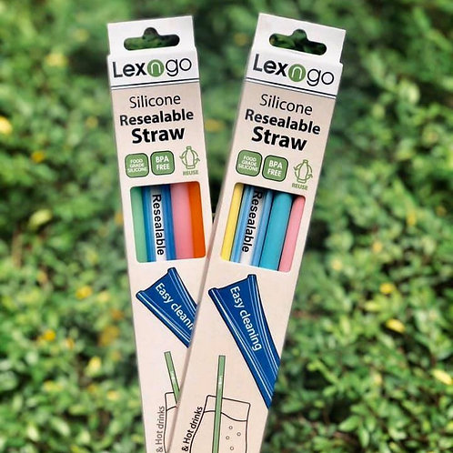 LEXNGO - Silicon Resealable Reusable Straws 22cm (Pack of 4)