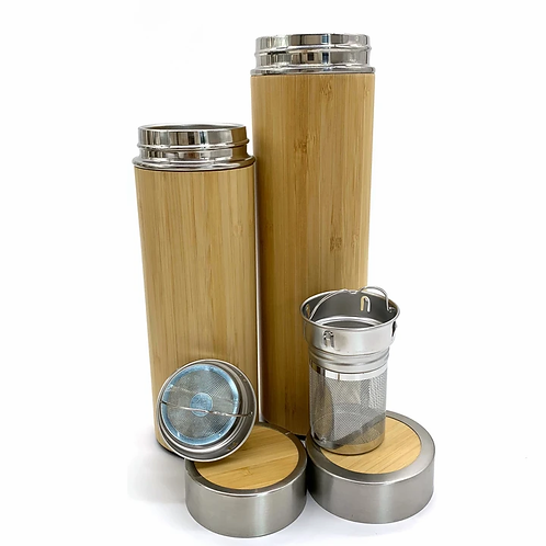 Bamboo Straw Girl - Thermal Flask (Bamboo) 350/500ml