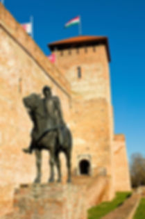 Sculpture of a knight with the castle in