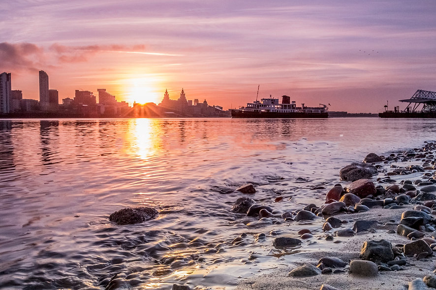"""Mersey Ferry Leaving Seacombe at low tide"" by Roger Ellison"