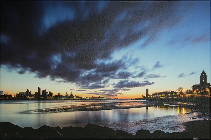 """""""Liverpool at Dawn from Egremont"""" by Roger Ellison"""