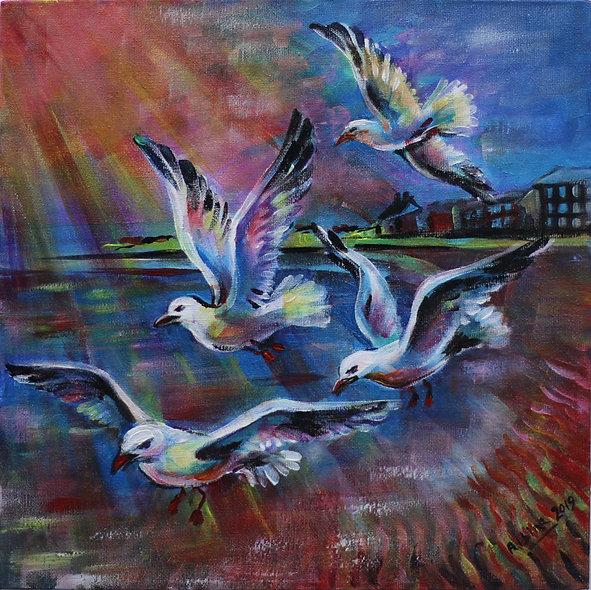 """Seagulls on West Kirby Beach"" by Albina Kumirova"