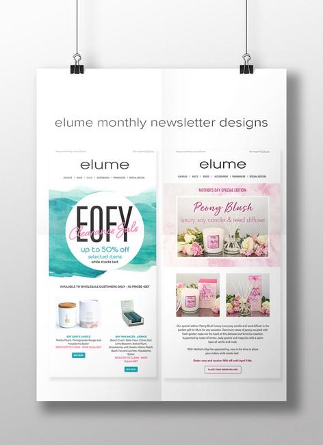 Elume E-newsletter designs