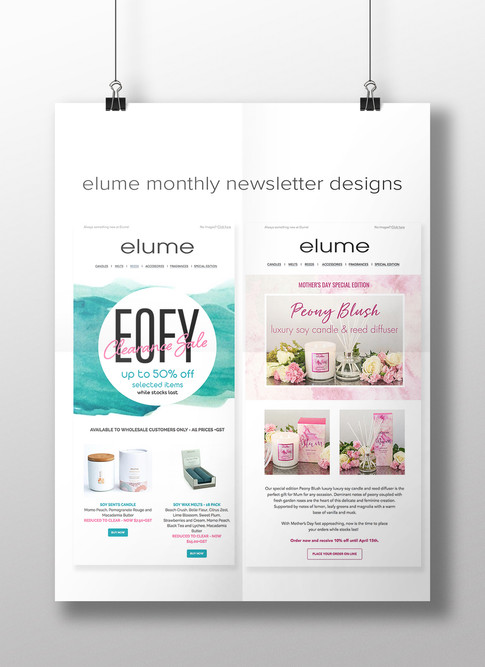 Elume E-newsletter designs