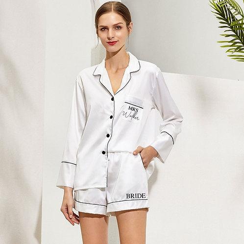 Bride Mrs Piped Pyjama Long sleeve Shirt and Short Set