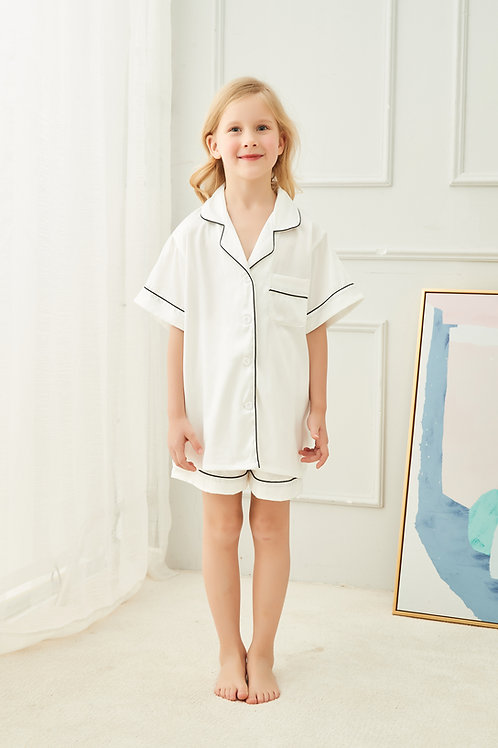 Childrens Satin Piped Pyjama Short Set