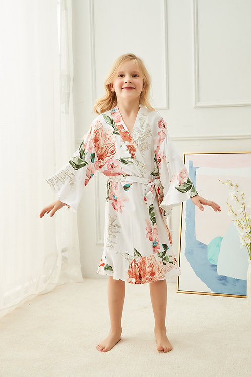 Peony Children's Floral Ruffle Robe