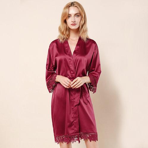Burgundy Satin Lace Personalised Robe
