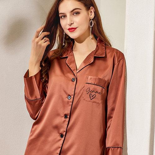 Heart Piped Long Pyjama  Set