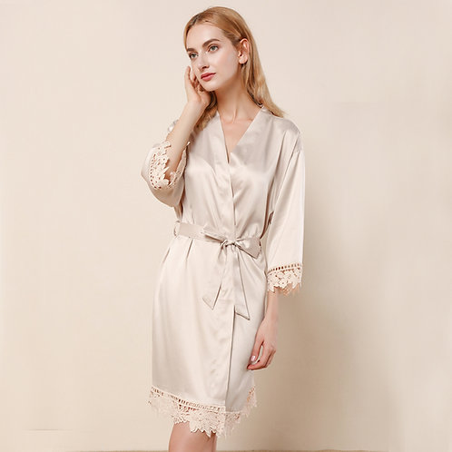 Champagne Satin Personalised Lace Robe