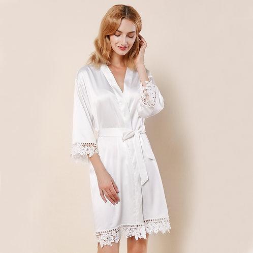 White Satin Personalised Lace Robe