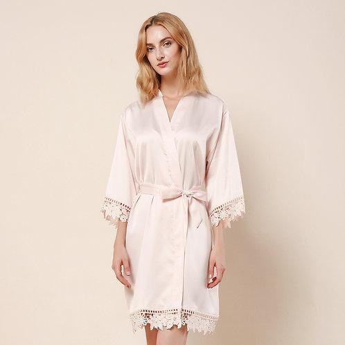 Blush Satin Lace Personalised Robe