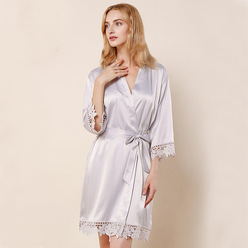 Light Grey Satin Personalised Lace Robe