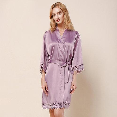 Mauve Satin Personalised Lace Robe