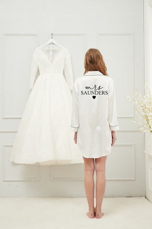 White Bride Mrs Night Shirt