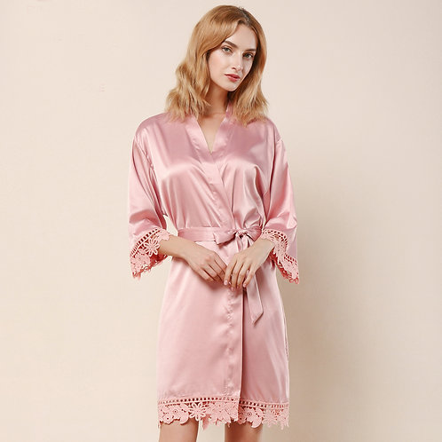 Dusty Rose Satin Personalised Lace Robe
