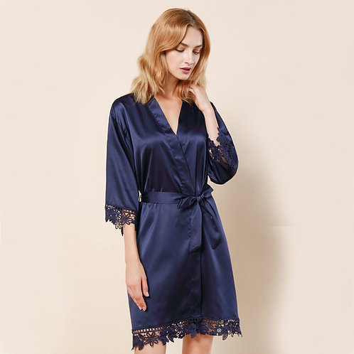 Navy Satin Personalised Lace Robe