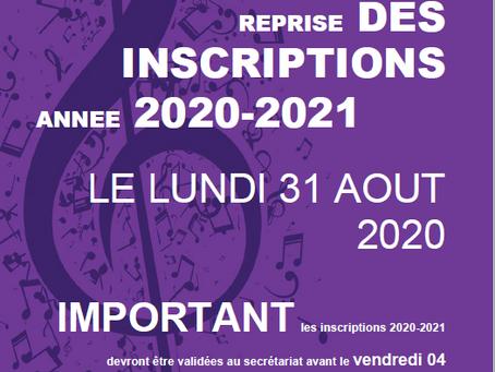 Reprise des inscriptions à partir du 31 Août 2020