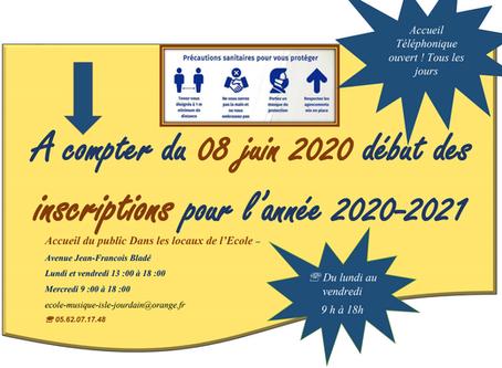 Inscription année scolaire 2020 - 2021