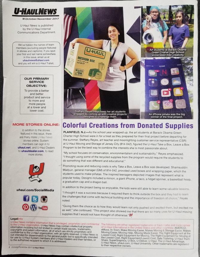 Lesson plan published in U-haul Company News letter