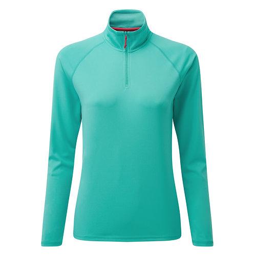 Women's UV Tec Long Sleeve Zip Tee -  Turquoise