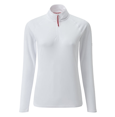 Women's UV Tec Long Sleeve Zip Tee -  White