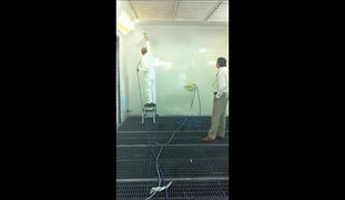 Protectapeel's peelable coating is applied to paint booth walls to protect against paint