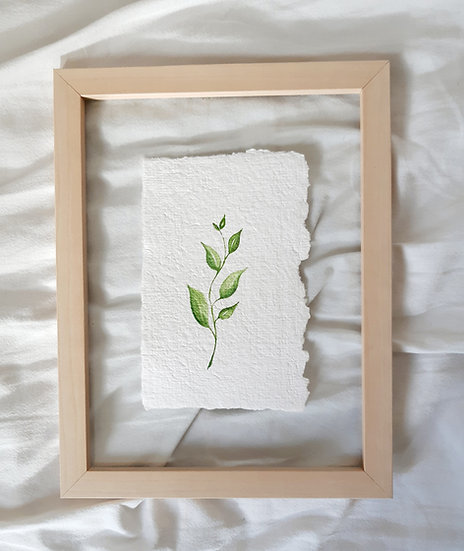 Leaves on handmade paper