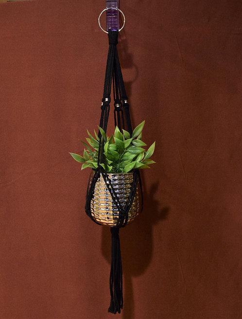 Single-Short-Silver Beads-Black Cord