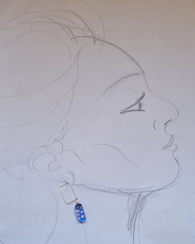 Boucles d'oreilles, hooked, rectangulaires, bleu points