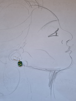Collections hooked, boucles d'oreilles vert/or