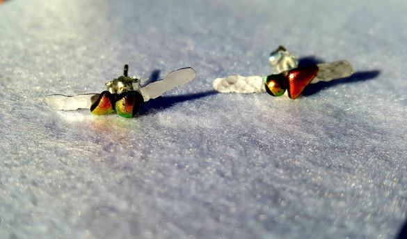 Boucles d'oreilles orange, or