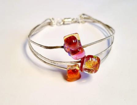 Bracelet, rouge, rose, orange