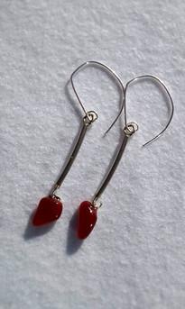 Boucles d'oreilles, rouge
