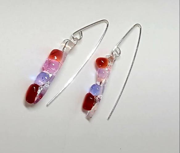 Boucles d'oreilles, rose, rouge, lila