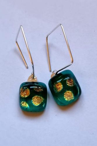 Boucles d'oreilles, hooked, vert/ or