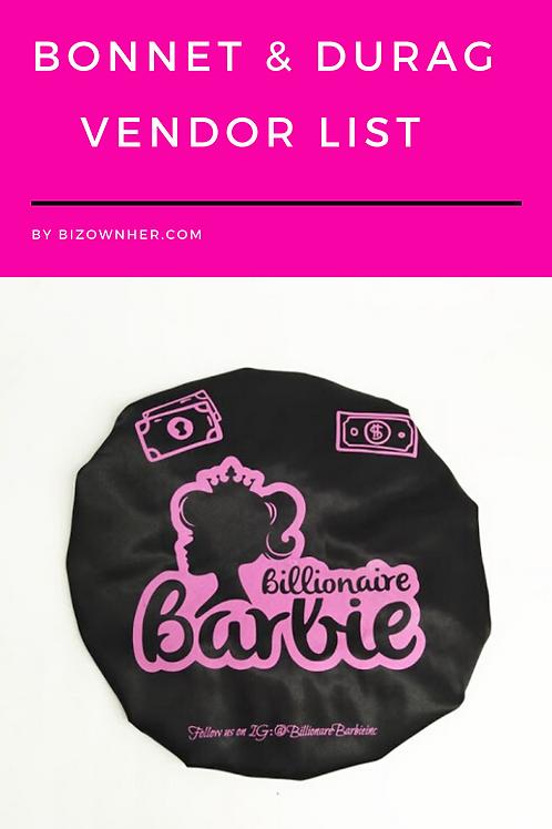 Bonnet & Durags Vendor List