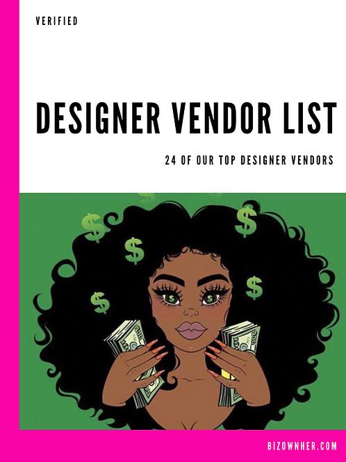 Designer Vendor List