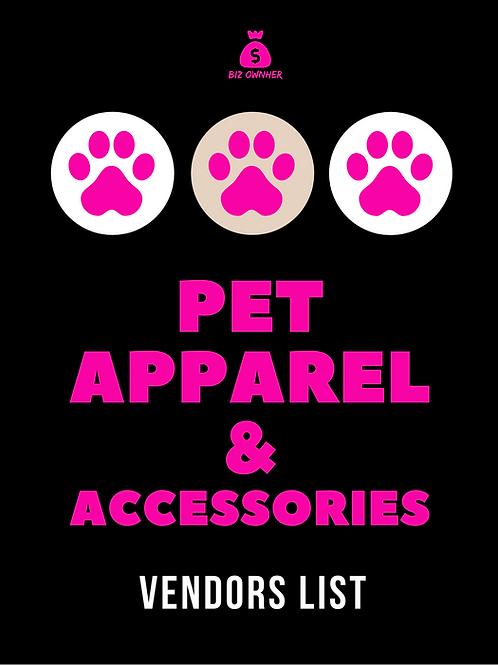 Pet Apparel & Accessories Vendor List