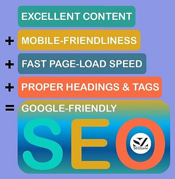 Excellent Content+Mobile Friendliness+Fast Page Load Speed+Proper Headings & Tags=Google Friendly SEO