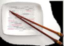 Ein Auswahlmenue in einer Schale mit Stäbchen zu beruflichen Themen : Konflikt, Präsentation, Assesment, Gehaltsforderung, Kommunikation