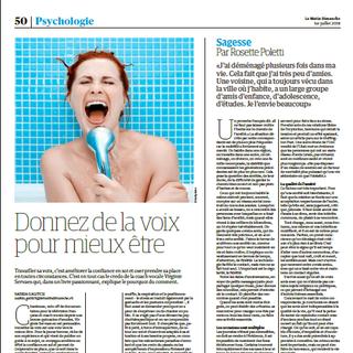"""Article """"Donnez de la voix pour mieux être"""" parution 1er juillet 2018 par Saskia Galitch pour le journal Le Matin Dimanche."""